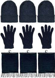 3 Units of Yacht & Smith Unisex 3 Piece Pre Assembled  Winter Care Set Hat Gloves & Scarf Solid Black - Winter Care Sets