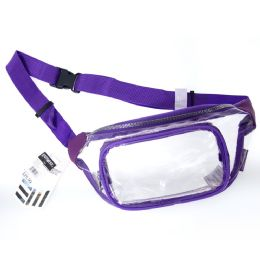 24 Units of Fanny Packs Clear Transparent Waist Travel Packs In Purple - Fanny Pack