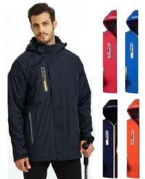 36 Units of Men's Waterproof Rain Ski Jacket With Fleece Lining & Hood - Men's Winter Jackets