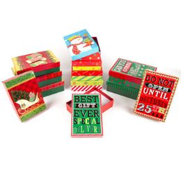 24 Units of Gift Box Christmas Hot Stamp Embellished - Christmas Gift Bags and Boxes