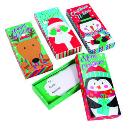 36 Units of Gift Card Box Holder Christmas Characters - Christmas Gift Bags and Boxes