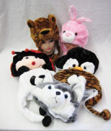 36 of Animal Hats Plush For Kids Assorted Hat Animals Critter Cap Winter Hat