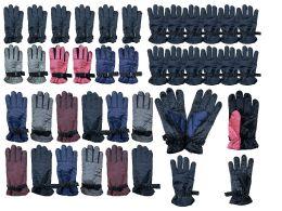 216 Bulk Yacht & Smith Mens Womens Kids Gripper Ski Glove Mix, Assorted Color Fleece Lining