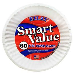 20 Units of 60 Count 6 Inch White Paper Plates Eilat - Disposable Plates & Bowls