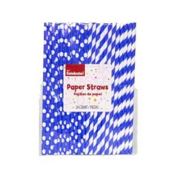 24 Units of 24 Count Paper Straws Blue And White - Straws and Stirrers