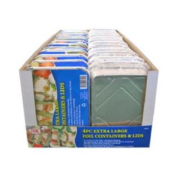 24 Units of 4 Count Extra Large Foil Containers And Lids - Aluminum Pans