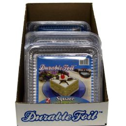 18 Units of Foil Square Cake Pan With Lid - Aluminum Pans