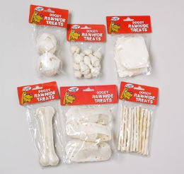 144 Units of Dog Rawhide White Small 6 Asst Poly Bag In Pdq Display - Pet Chew Sticks and Rawhide