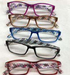 120 Bulk Assorted Colors And Power Lens Plastic Reading Glasses Plaid Print Hinge Bulk Buy