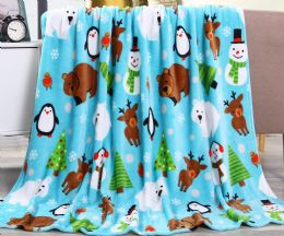 12 Units of Holiday Pals Printed Fleece Blankets Size 50 X 60 - Fleece & Sherpa Blankets