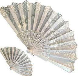 120 Wholesale White Glitter Folding Hand Fans