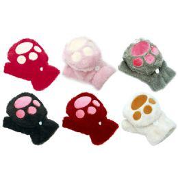 96 Units of Kids Cat Mittens - Winter Gloves