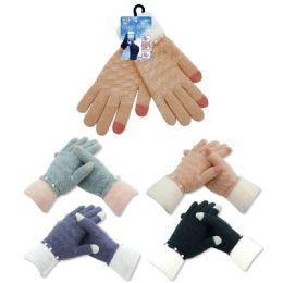144 Units of Women's Touch Knit Glove - Conductive Texting Gloves
