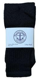 240 Units of Yacht & Smith Kids Solid Tube Socks Size 6-8 Black Bulk Buy - Kids Socks for Homeless and Charity