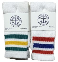 240 Units of Yacht & Smith Kids Cotton Tube Socks Size 6-8 White With Stripes - Kids Socks for Homeless and Charity