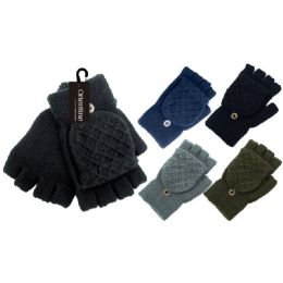 72 Units of Men's Pashmina Glove - Knitted Stretch Gloves