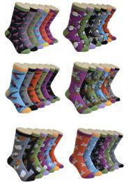 360 Units of Women's Mix Bird Print Crew Socks - Womens Crew Sock