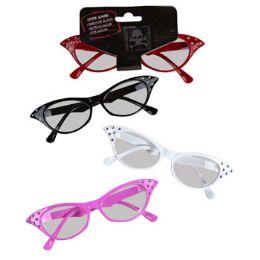 24 Units of Cat Eyeglasses With Rhinestones - Halloween & Thanksgiving