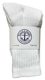 240 Units of Yacht & Smith Kids Cotton Crew Socks White Size 6-8 Bulk Pack - Kids Socks for Homeless and Charity