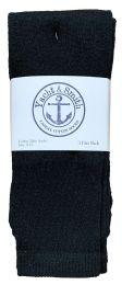 240 Bulk Yacht & Smith Women's Cotton Tube Socks, Referee Style, Size 9-15 Solid Black Bulk Pack