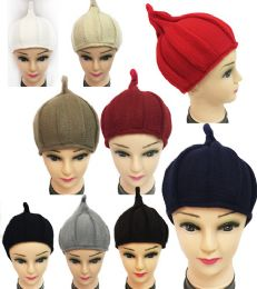 36 Bulk Winter Knitted Women Hat With Pointy End Assorted Color