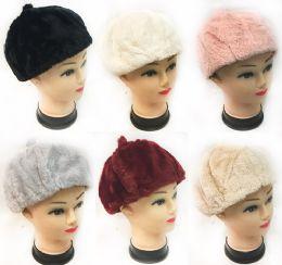 36 Bulk Faux Fur Ladies Winter Hat Assorted Colors
