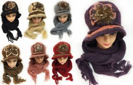 12 of Women's Winter Knitted Hat And Scarf Sets Assorted