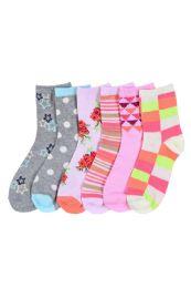 216 Units of Girl's Assorted Design Crew Socks Size 2-3 - Girls Crew Socks
