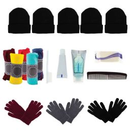 48 Units of Bulk Case of 12 Gloves, 12 Winter Throw Blankets, 12 Beanies - Wholesale Care Packages - Winter Gear