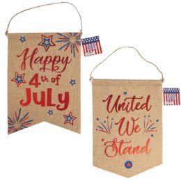 36 Bulk Banner Patriotic Faux Burlap With Hotstamp Print
