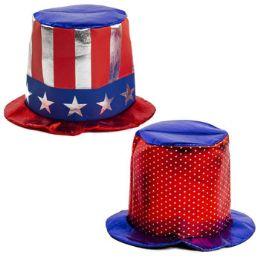 24 Bulk Hat Patriotic Large Metallic Shine Adult Use