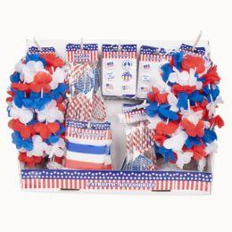 48 Bulk Patriotic Wearable Shipper Assorted Glasses Buttons Rubber Bracelets