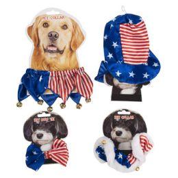 48 Bulk Pet Patriotic Dressup Bowtie Collar Hat