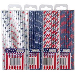 48 Bulk Straws Paper Patriotic Hotstamp