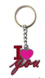 24 Units of Valentine I Love And Heart Metal Keychain - Valentines