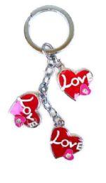 24 Units of Valentine 3 Heart With Love Metal Keychain - Valentines