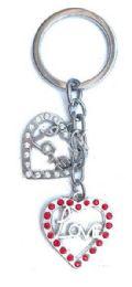 24 Units of Valentine 2 Heart Metal Keychain - Valentines