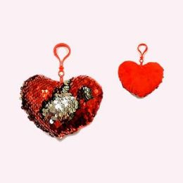 24 Units of Valentine 4.5 Inch Sequined Heart Pillow Keychain - Valentines