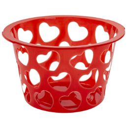 36 Units of Basket Round With Heart Cutouts Plastic - Baskets