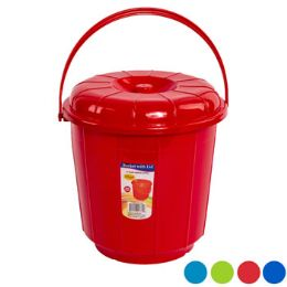12 Units of Bucket With Lid And Handle - Buckets & Basins