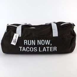 60 Units of Gym Bag Polyester Run Now Tacos Later Black - Workout Gear