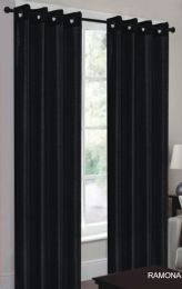 24 Units of Ramona Black Grommet Panel - Window Curtains