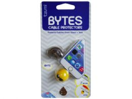 72 Wholesale Cord Bytes 2 Pack Assorted Emoticon Cord Protectors