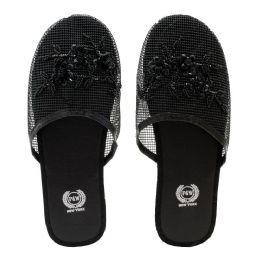 96 Units of Women's Chinese Mesh Slippers Black - Women's Flip Flops