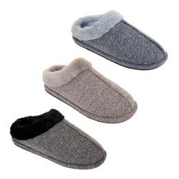 36 Units of Mens Fur Fleece Lined Winter Slippers - Men's Slippers