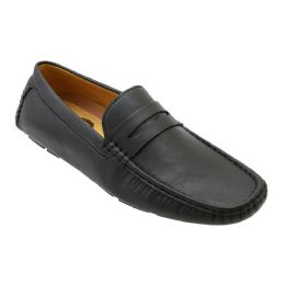 12 Units of Mens Penny Loafer Driver Shoes In Black - Men's Shoes