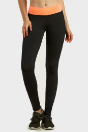36 Units of Sofra Ladies Active Legging With Side Pocket In Black Coral - Womens Leggings