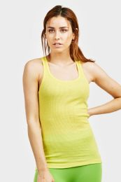 72 Units of Sofra Ladies Racerback Ribbed Tank Top In Lime Yellow - Womens Camisoles & Tank Tops