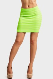 72 Units of Sofra Ladies Seamless Striped Skirt In Neon Lime - Womens Skirts