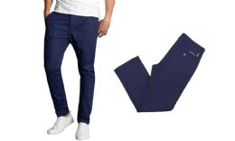 24 Units of Men's SliM-Fit Cotton Stretch Chino Pants Solid Navy - Mens Pants